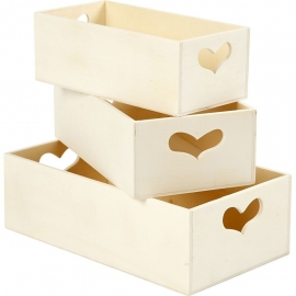 3 Cajas corazon de almacenamiento