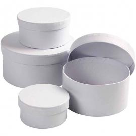 Set de 4 cajas blancas redondas