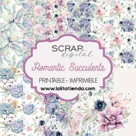 Papel de scrap imprimible Romantic Succulents