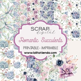 Papel de scrap imprimible Romantic Succulents