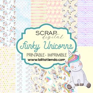 Papel de scrap imprimible Funky unicorns