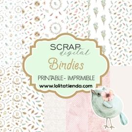 Papel de scrap imprimible Birdies
