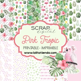 Papel de scrap imprimible Pink tropical