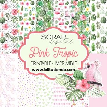 Papel de scrap imprimible Pink tropical