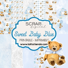 Papel de scrap imprimible Sweet baby blue