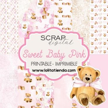 Papel de scrap imprimible Sweet baby pink